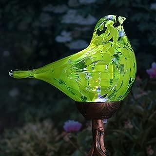 Exhart Solar Yellow Hand-Blown Glass Bird Yard Stakes -Bird Garden Stake w/Solar LED Lights in Spiral Bronze Finial Design - Bird Metal Stakes, Bird Decor, Garden Art Bird Ornaments, 7