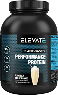 Elevate Nutrition Plant Based Vegan Performance Protein, 26 Servings, Low Carb, NO Sugar, High Protein, High BCAAs, High Glutamine, GMO-Free, Dairy and Soy Free, NO Artificial (Vanilla Milkshake)