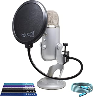 Blue Microphones Tri-Capsule Yeti USB Microphone (Silver) Bundle with Blucoil Pop Filter Windscreen, 6-Ft Headphone Extender and 5-Pack of Cable Ties