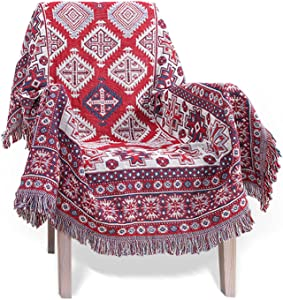 MayNest Throw Blanket Bohemian Home Decor Decorative Colorful with Tassels Reversible Double-Sided Woven Tapestry for Bed Sofa Couch Slip Cover Cotton Carpet Rug Chair Recliner Loveseat (S: 71
