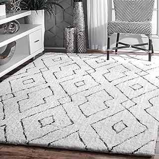 nuLOOM Lauren Lattice Shag Rug, 5' x 8', White