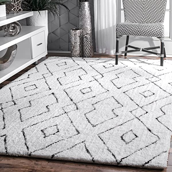 NuLOOM Lauren Lattice Shag Rug 7 6 X 9 6 White