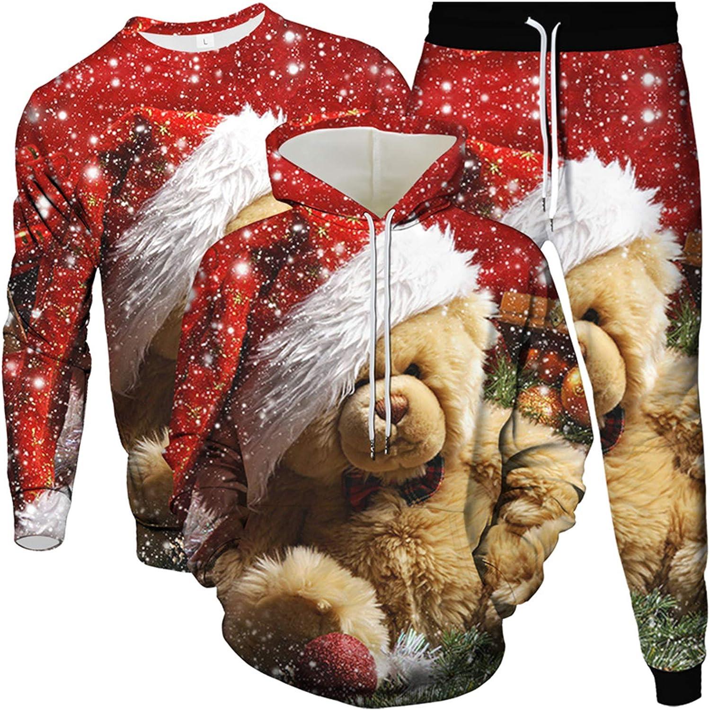 URVIP Unisex 3PCS Christmas Loungewear 3D Printed Sweatshirts Hoodie Pants Sets