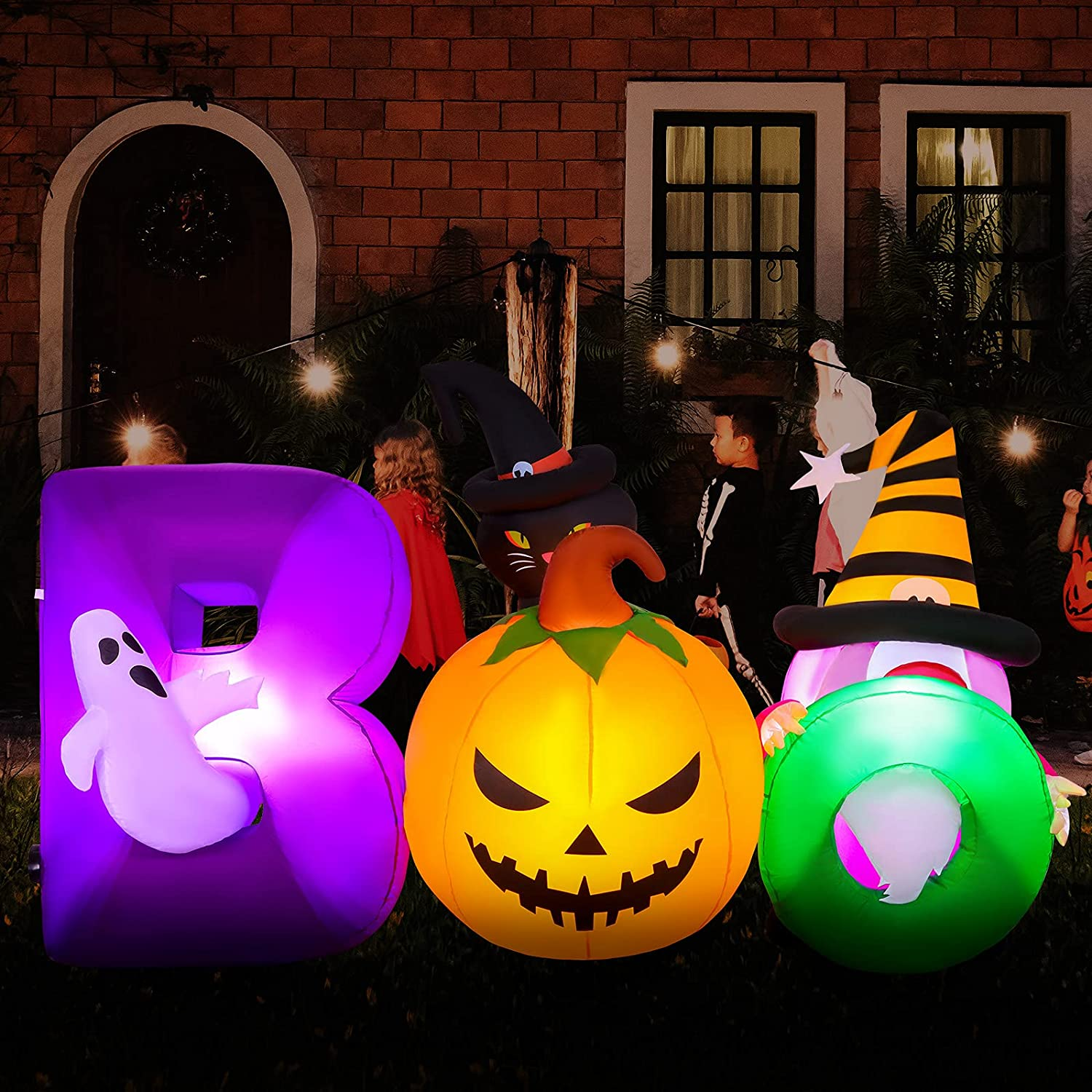 Fovths 7 Feet Halloween Inflatables Boo Blow Up Decoration Pumpkin and Ghost LED Light Up Halloween Decoration for Outdoor Indoor Garden Yard