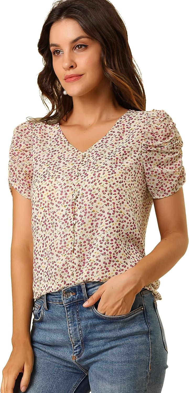 Allegra K Women's Button Front Shirt Puff Short Sleeves Chiffon Floral Top