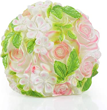 Handmade Hand Painted Real Wax Artificial Flower Ball Battery Operated Powered Electric Flameless LED Candle with Timer Decor