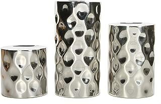 Hosley Silver Metallic Finish Pillar Holders, 3