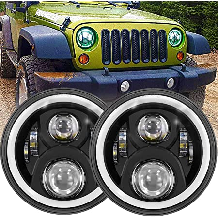 2019 Newest Design 7 Inch LED Halo Headlights with Turn Signal Amber White DRL Compatible with Jeep Wrangler JK Headlamp-Black