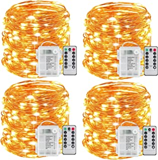 WSgift 4 Pack 33 Ft 100 Warm White Led Fairy Lights Battery Operated with Remote Control Timer Waterproof Silver Copper Wire Twinkle String Lights for Bedroom Indoor Outdoor Wedding Dorm Decorations