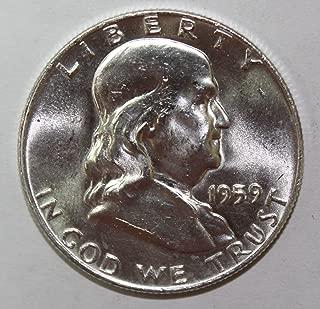 1959 D Silver Franklin Half Dollar 50c Brilliant Uncirculated