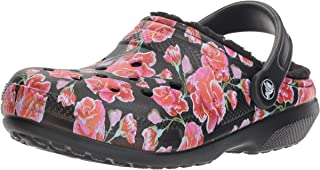 Women's Classic Fuzz Lined Floral Graphic II Clog Shoe, Indoor Warm and Fuzzy Slipper