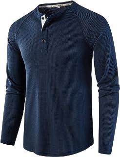 MakingDa Mens Collarless Long Sleeve Tops Slim Fit Button Neck Henley T Shirt Smart Casual Raglan Grandad Shirts Work Loun...