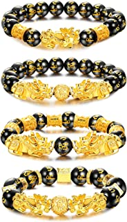 LOLIAS 4 Pcs Feng Shui Pixiu Good Luck Bracelets for Men Women Black Obsidian Mantra Bead Bracelets Pi Yao Attract Wealth ...