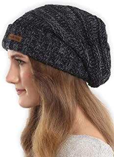 Slouchy Cable Knit Beanie For Women - Warm & Cute Oversized Slouch Winter Hats - Thick, Chunky & Soft Stretch Knitted Caps for Cold Weather - Stylish & Trendy Snow Cuff Beanie Hats for Ladies