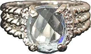 Designer Inspired Twisted Cable 10x8mm Aquamarine Checkerboard Cushion Ring Size 7 8 9