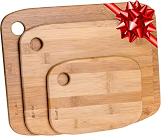 Bamboo Cutting Board Set of 3, Wood Cutting Board for Meat Cheese Vegetables, Organic Wooden Cutting Boards for Kitchen, W...