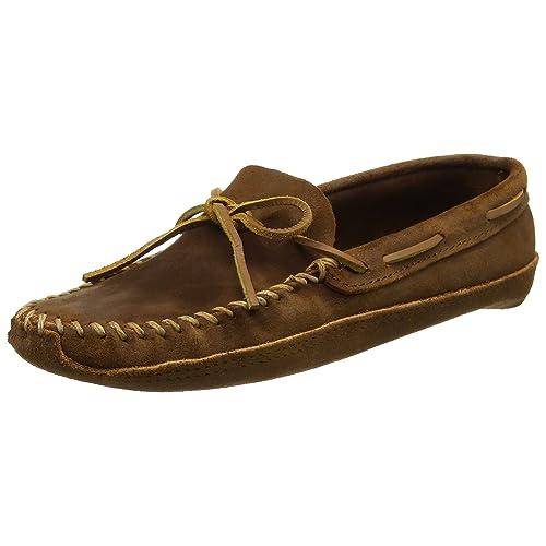 Minnetonka Mens Moccasins Ruff Leather Double Bottom Softsole Moc Brown