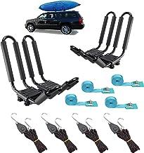 2 Pairs Heavy Duty Kayak Rack-Includes 4 Pcs Ratchet Tie-Mount on Car Roof Top Crossbar-Easy to Carry Kayak Canoe Boat Surf Ski (J-Bar Rack)