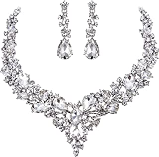 Clearine Women's Wedding Bridal Austrian Crystal Teardrop Cluster Statement Necklace Dangle Earrings Set Clear Silver-Tone