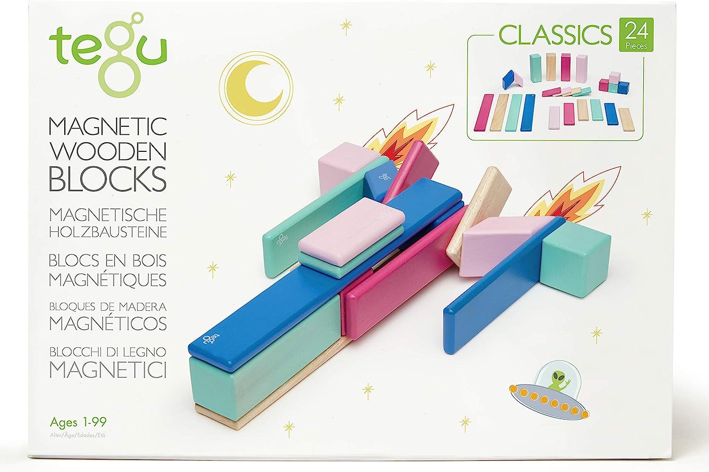 24 Piece Tegu Manufacturer OFFicial shop Magnetic Block Blossom Wooden Set Gifts