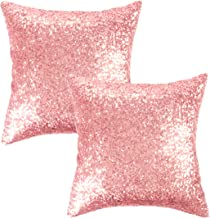 Kevin Textile Sequins Decorative Cushion Cover Glitzy Sequin & Comfy Satin Solid Throw Pillow Cover 18 Inch Square Pillow Case, Hidden Zipper Design, (2 Cover Packs Pink)