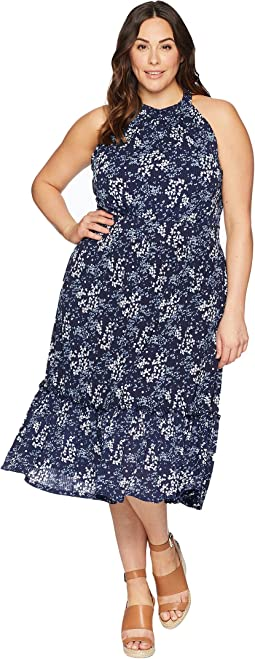 Plus Size Scatter Blooms Print Tier Mid Dress
