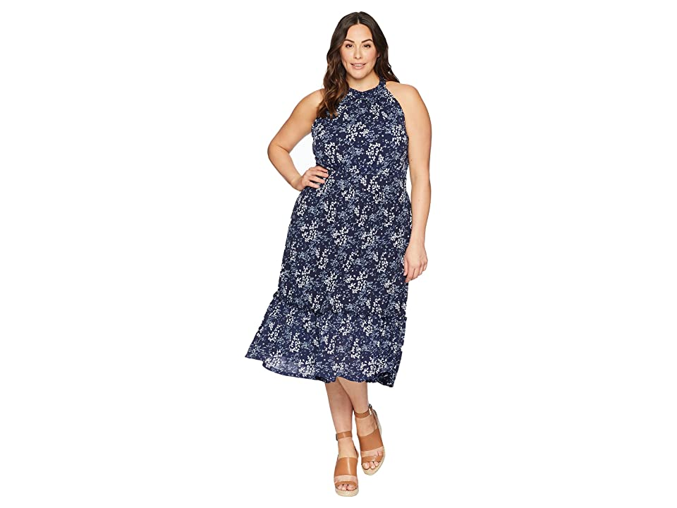 MICHAEL Michael Kors Plus Size Scatter Blooms Print Tier Mid Dress (True Navy/Light Chambray) Women