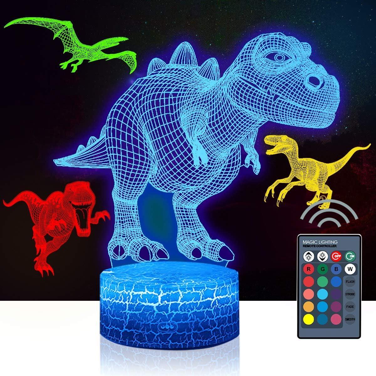 Miami Mall 4 Pcs 3D Dinosaur Night 16 Color Lamp Light Changi Ranking TOP1