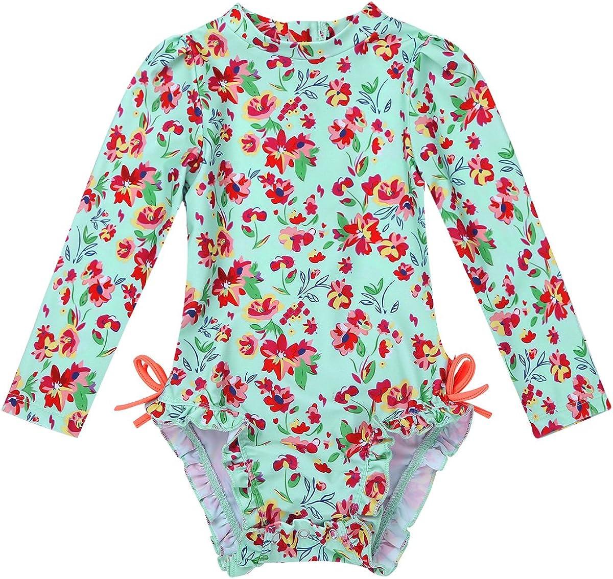 ranrann Baby Girls Long Sleeve Floral Rash Guard Sun Protection Swimwear Swimsuit Shirt UPF 50+ Zipper Back Bathing Suit