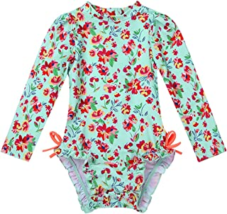JEATHA Infant Baby Girls Ruffled Long Sleeves Rash Guard Floral Printed Bathing Suit Swimwear with Hidden Zipper Back