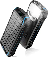 Solar Charger 26800mAh, Solar Power Bank, Portable Charger Battery Pack with 3 Outputs & 2 Inputs(Micro USB & Type-C) Huge...