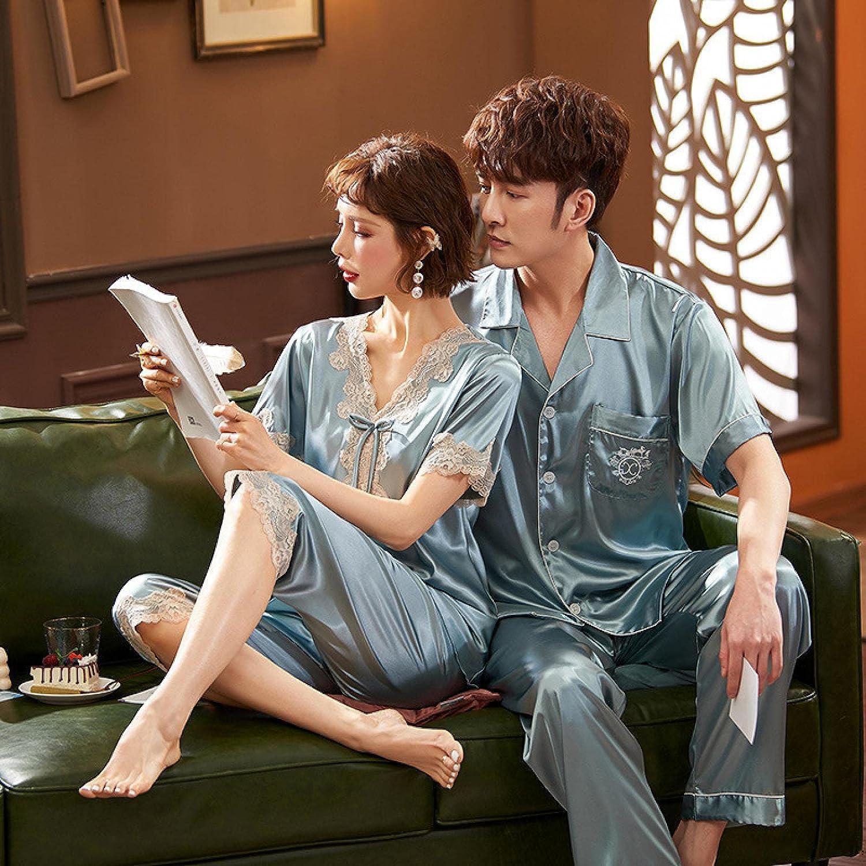 STJDM Nightgown,Silk Satin Pajamas Couple Set Summer Short Sleeve Button-Down Sleepwear Loungewear Plus Size Men-XL greygreenset