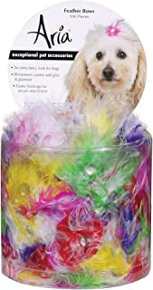 Aria Feather Bows for Dogs, 100-Piece Canisters