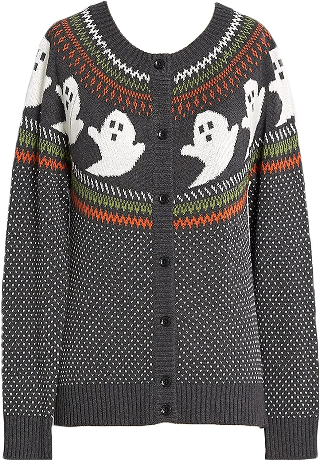 YEMOCILE Knitted Sweater for Women With Cute Ghost Pattern Gothic Streetwear with Long Sleeves for Girls