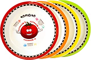 Healthy Kiddos Plates Teach Kids Nutritional Benefits of Eating Fruits and Veggies 4-pack (Set 3 of 3)