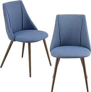 Juego de sillas de Comedor Asiento Tapizado en Tela 83 x 50 x 53 cm Set de 2X sillas de Cocina Sillas de Oficina Azul Oscuro