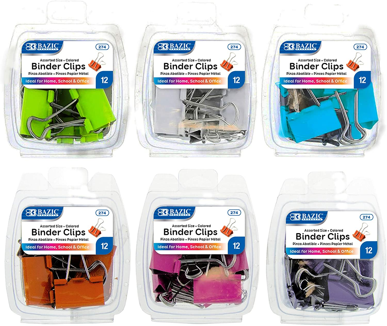 BAZIC Binder Clips Assorted Size Color Medium Pap Recommended Small Max 80% OFF Large