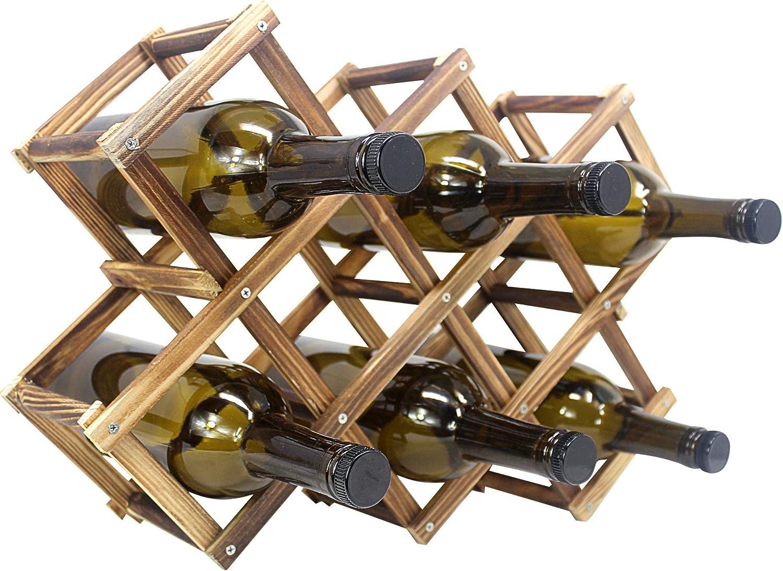 Foldable Wooden Wine Bottle Holder - Rack 8 Sl Natural Popular standard with discount