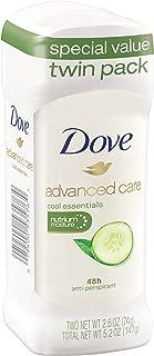 Dove Advanced Care Antiperspirant Deodorant Cool Essentials 2.6 oz, Twin Pack