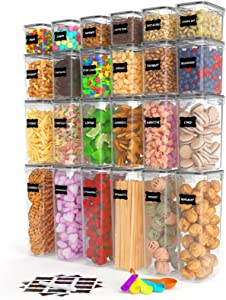 Airtight Food Storage Container Set, 24pcs Plastic Canisters with Durable Lids, Kitchen & Pantry Organization, Ideal for Spaghetti, Cereal, Flour & Sugar, with Labels and Spoon Set