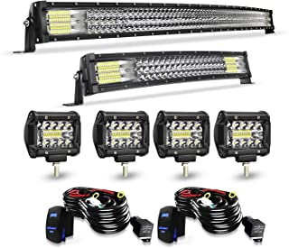 TURBO SII Led Light Bar Curved 50Inch Offroad Led Bar Triple Row+ 22Inch Curved Spot Flood Combo Light Bars + 4PCS 4