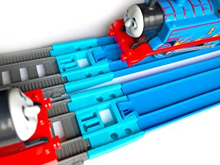 TrainLab Adapters Compatible with Trackmaster (2014+) and Plarail Train Tracks (2pc) (Light Blue)