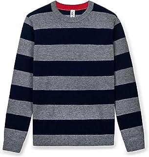 Kid Nation Boys' Pullover Sweater Color Block Striped Sweatshirt Crew Neck