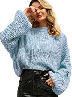 Simplee Women's Oversized Cropped Sweater Lantern Long Sleeve Loose Knit Pullover Sweater