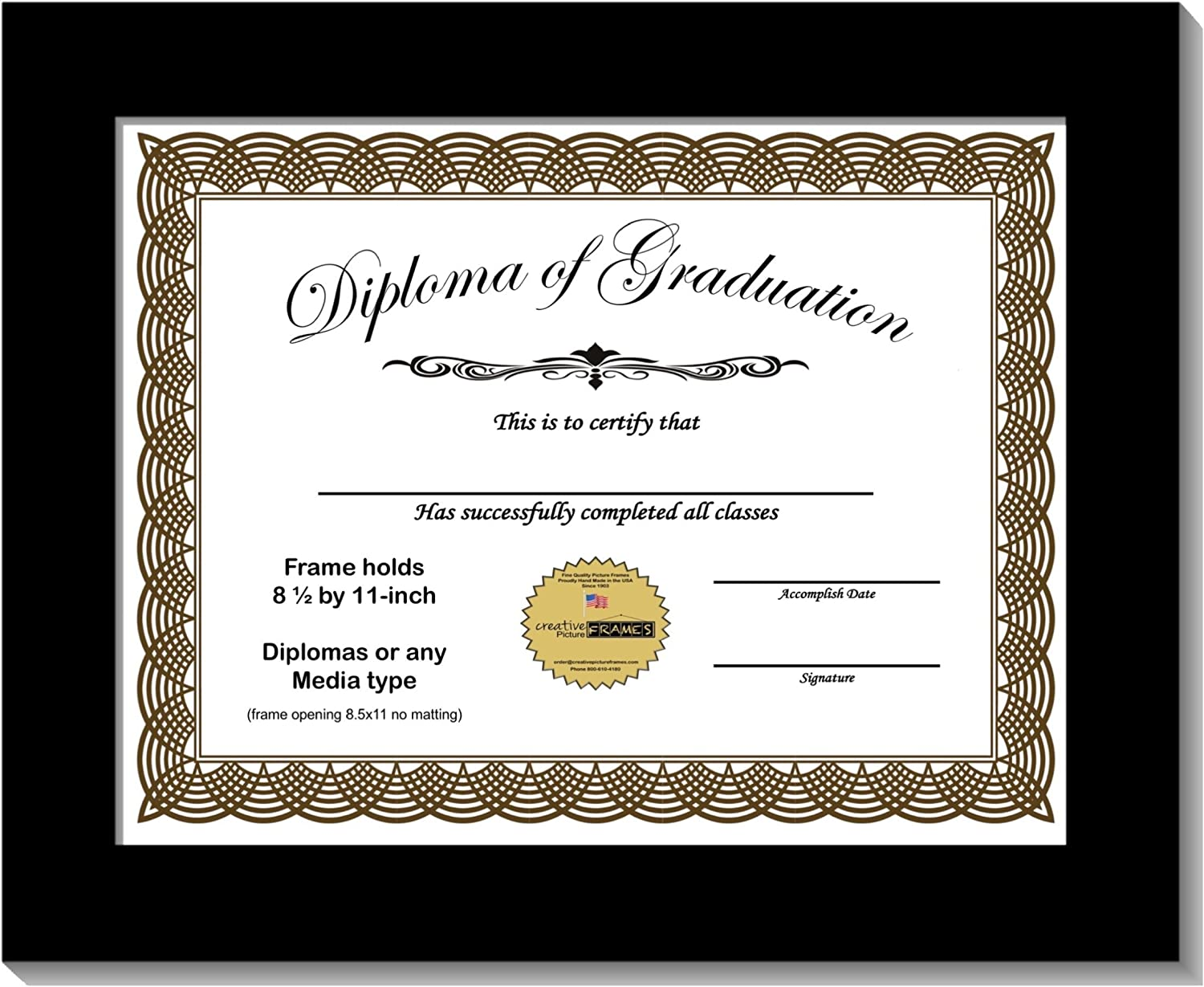 CreativePF 8.5x11bk Black Diploma Max 62% OFF Frame Holds by 8.5 Max 80% OFF 11-inch