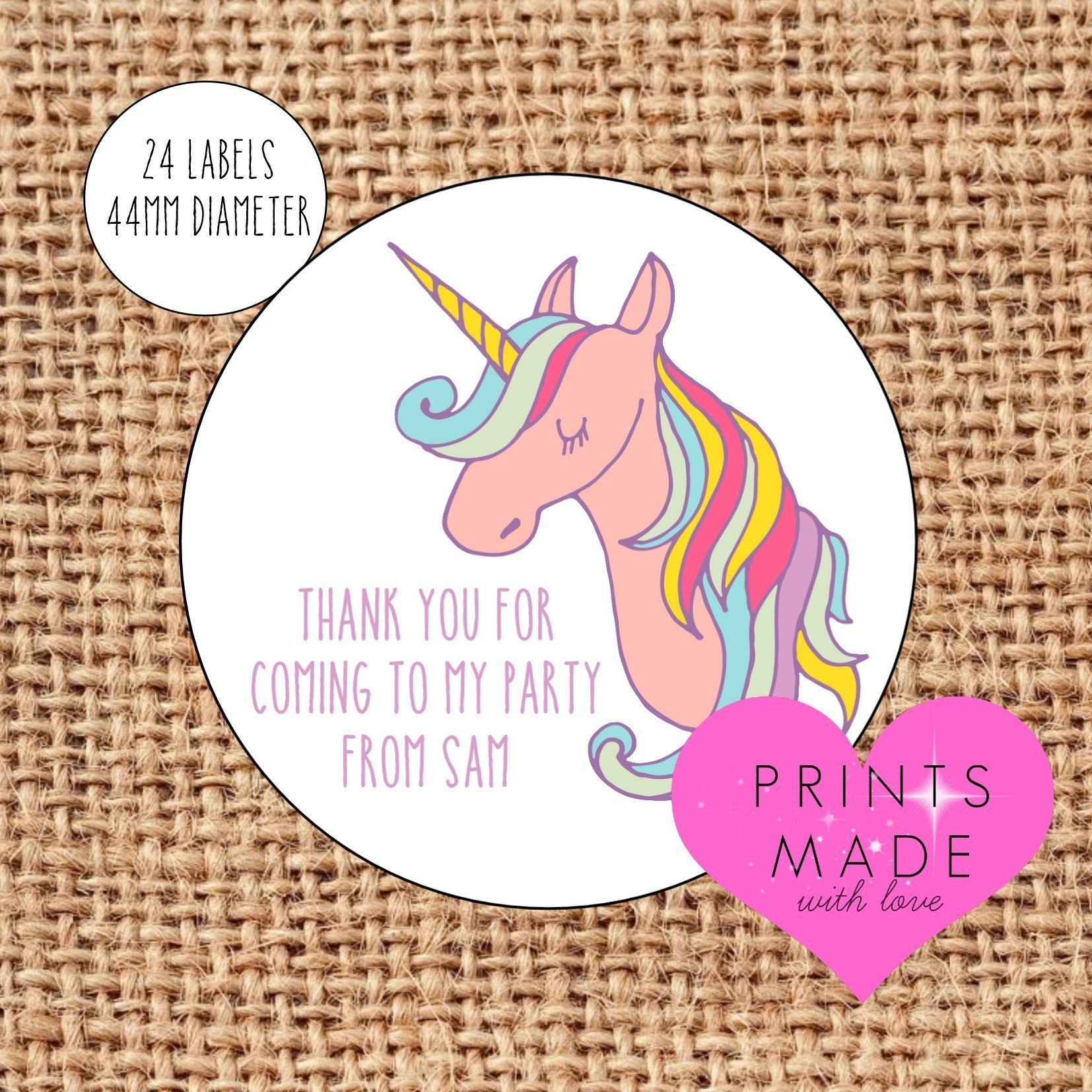 YOUR IMAGE Personalised Birthday Sticker Labels Thank You For Coming To My Party