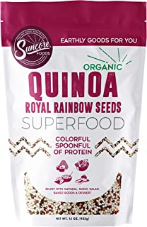 Suncore Foods - The Finest Organic 100% Bolivian Royal Rainbow Quinoa Whole Grain, 15 oz Resealable Pouch