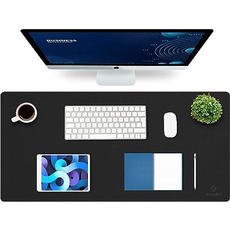 Knodel Desk Pad, Office Desk Mat, 43cm x 90cm PU Leather Desk Blotter, Laptop Desk Mat, Waterproof Desk Writing Pad for Office and Home, Dual-Sided (Black)