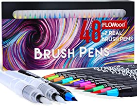 FLOWood Watercolor Brush Pens, 48 Colors Markers Brush Pens with Real Brush Tip, Watercolor Pens Set with Water Brush for ...