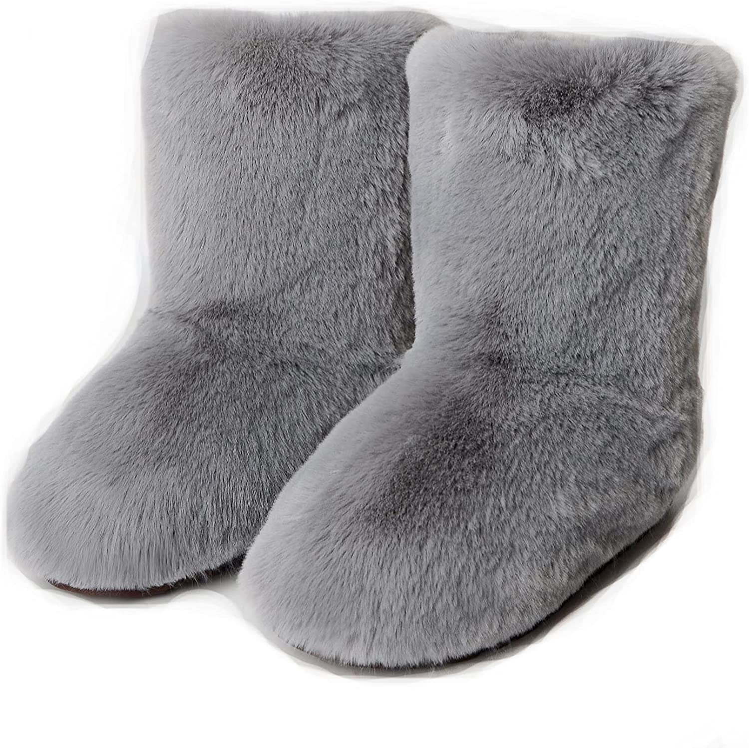 Faux Fur Boot for Women Furry Fluffy Snow Boots Winter Mid-calf Boots Warm Outdoor Flat Shoes